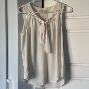 Loft Cream Sleeveless Work Blouse